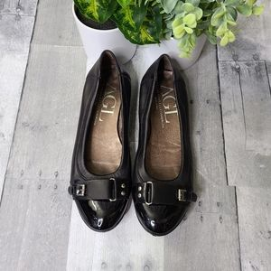 AGL Black Buckle Detail Patent Leather Flats